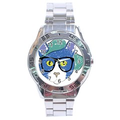 Drawing Cat Pet Feline Pencil Stainless Steel Analogue Watch