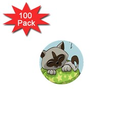 Kitten Kitty Cat Sleeping Sleep 1  Mini Buttons (100 Pack)