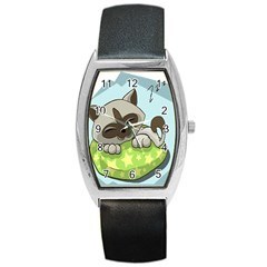 Kitten Kitty Cat Sleeping Sleep Barrel Style Metal Watch