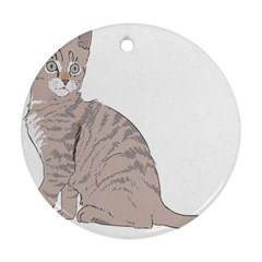 Kitten Cat Drawing Line Art Line Ornament (round)