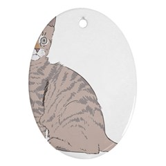 Kitten Cat Drawing Line Art Line Ornament (oval)