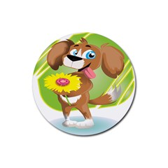 Dog Character Animal Flower Cute Rubber Round Coaster (4 Pack)