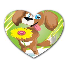 Dog Character Animal Flower Cute Heart Mousepads