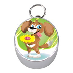 Dog Character Animal Flower Cute Mini Silver Compasses