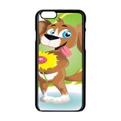 Dog Character Animal Flower Cute Apple Iphone 6/6s Black Enamel Case
