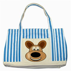 Doh Puppy Happy Pet Hound Animal Striped Blue Tote Bag