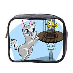 Cat Bird Cage Hunt Hunting Pet Mini Toiletries Bag 2 Side