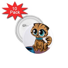 Kitty Cat Big Eyes Ears Animal 1 75  Buttons (10 Pack)