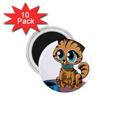 Kitty Cat Big Eyes Ears Animal 1 75  Magnets (10 Pack)