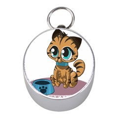 Kitty Cat Big Eyes Ears Animal Mini Silver Compasses