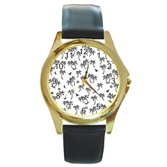 Tropical Pattern Round Gold Metal Watch
