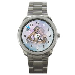 Fairy In The Sky With Fantasy Bird Sport Metal Watch
