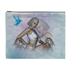 Fairy In The Sky With Fantasy Bird Cosmetic Bag (xl)