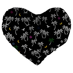 Tropical Pattern Large 19  Premium Heart Shape Cushions by Valentinaart