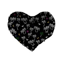 Tropical Pattern Standard 16  Premium Flano Heart Shape Cushions by Valentinaart