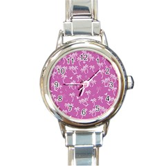 Tropical Pattern Round Italian Charm Watch