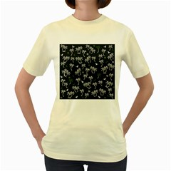 Tropical Pattern Women s Yellow T Shirt