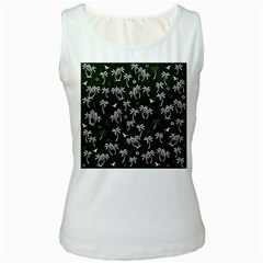 Tropical Pattern Women s White Tank Top