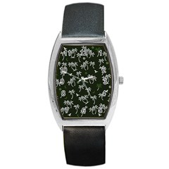 Tropical Pattern Barrel Style Metal Watch