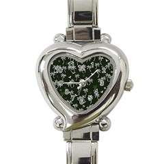 Tropical Pattern Heart Italian Charm Watch