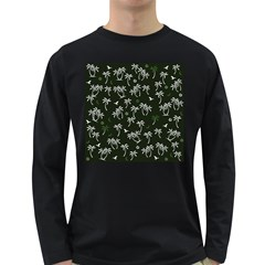Tropical Pattern Long Sleeve Dark T Shirts