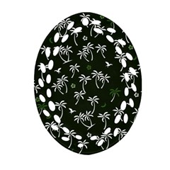 Tropical Pattern Oval Filigree Ornament (two Sides)