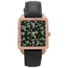 Tropical Pattern Rose Gold Leather Watch
