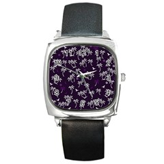 Tropical Pattern Square Metal Watch