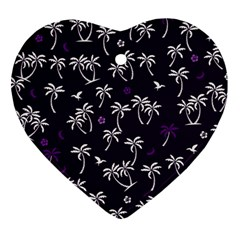 Tropical Pattern Heart Ornament (two Sides)