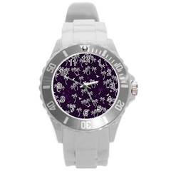 Tropical Pattern Round Plastic Sport Watch (l)