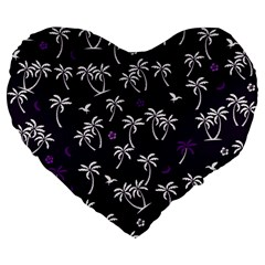 Tropical Pattern Large 19  Premium Flano Heart Shape Cushions