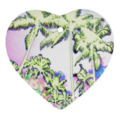 Palm Trees Tropical Beach Scenes Coastal Sketch Colored Neon Ornament (heart)