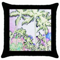 Palm Trees Tropical Beach Scenes Coastal Sketch Colored Neon Throw Pillow Case (black) by CrypticFragmentsColors