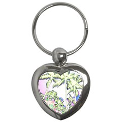 Palm Trees Tropical Beach Scenes Coastal Sketch Colored Neon Key Chains (heart)  by CrypticFragmentsColors