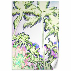 Palm Trees Tropical Beach Scenes Coastal Sketch Colored Neon Canvas 12  X 18