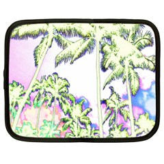 Palm Trees Tropical Beach Scenes Coastal Sketch Colored Neon Netbook Case (large)