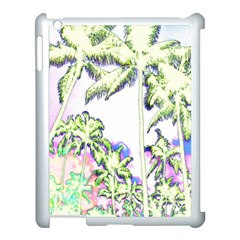 Palm Trees Tropical Beach Scenes Coastal Sketch Colored Neon Apple Ipad 3/4 Case (white) by CrypticFragmentsColors
