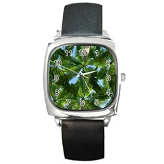 Paradise Under The Palms Square Metal Watch