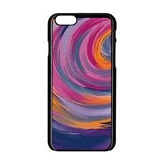Purple Circles Swirls Apple Iphone 6/6s Black Enamel Case