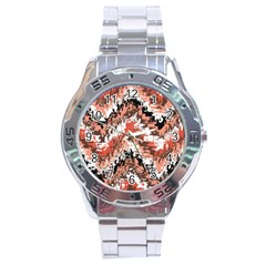 Watercolor Native Zig Zags Stainless Steel Analogue Watch