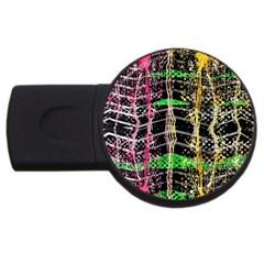 Pink Green Paint Battle And Black Lightning  Zigzag Usb Flash Drive Round (4 Gb)