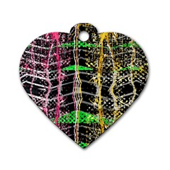 Pink Green Paint Battle And Black Lightning  Zigzag Dog Tag Heart (one Side)