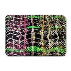 Pink Green Paint Battle And Black Lightning  Zigzag Small Doormat