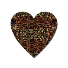 Brown And Gold Aztec Design  Heart Magnet