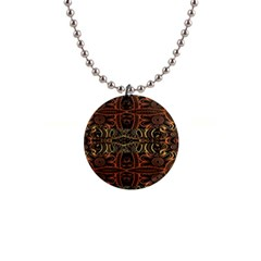 Brown And Gold Aztec Design  Button Necklaces