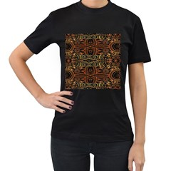 Brown And Gold Aztec Design  Women s T Shirt (black)