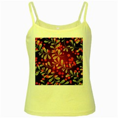 Beautiful Black And Red Florals  Yellow Spaghetti Tank