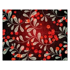 Beautiful Black And Red Florals  Rectangular Jigsaw Puzzl