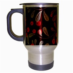Beautiful Black And Red Florals  Travel Mug (silver Gray)