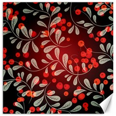Beautiful Black And Red Florals  Canvas 16  X 16